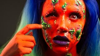 Infected neon zombie -- FX makeup tutorial