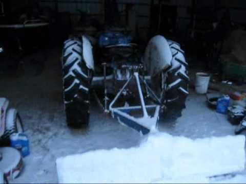 Ford 8n Tractor Cold Start and Plowing Snow
