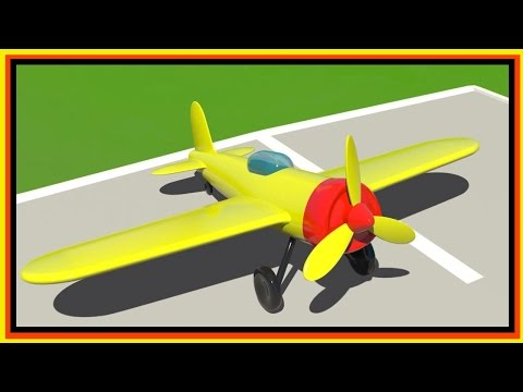 Cartoon Airport 2! Build 3d Sports AIRPLANE - Learn Simple Numbers (1-4) Cartoon for Kids