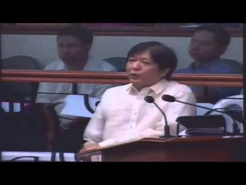 09/28/2015 BongBong Marcos Replies on Tito Sotto Queries On Bangsamoro Basic Law Senate Session 27