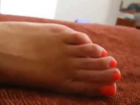 Beautiful Orange Toes Perfect Long Toes And Sexy Soles POV On Bed   Perfect Feet For You