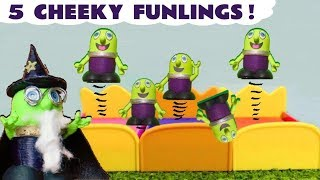 Funny Funlings Kids Toys 5 Little Monkeys Jumping On The Bed Nursery Rhyme