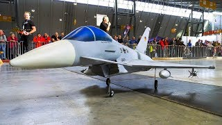 INCREDIBLE RC SCALE MODEL JET EUROFIGHTER AT INDOOR FLIGHT DEMONSTRATION!!