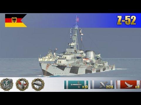 Бой на немецком эсминце X уровня Z-52   WoWS Replays