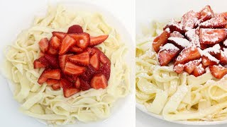 How to Make DESSERT SPAGHETTI   Sweet Pasta with Crepes and Strawberries   Recipe