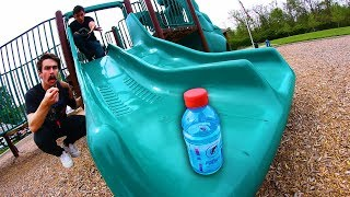 MINI BOTTLE FLIPPING AT THE PLAYGROUND!