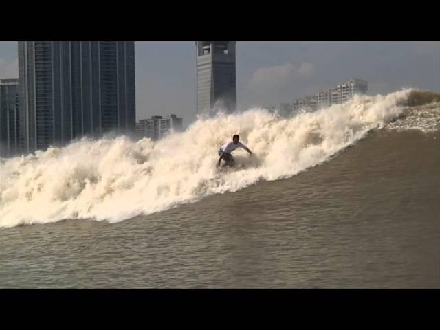 Surfing the Silver Dragon Tidal Bore, Qiatang River, China 2011