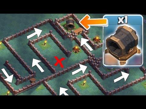 GIANT CANNON MAZE BASE!!   clash of clans   TROLL BASE!