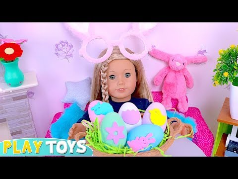 American Girl Doll Colors Easter Eggs. Crafts Easter Bunny Cards! 🎀 DIY Decoration Video for Kids.