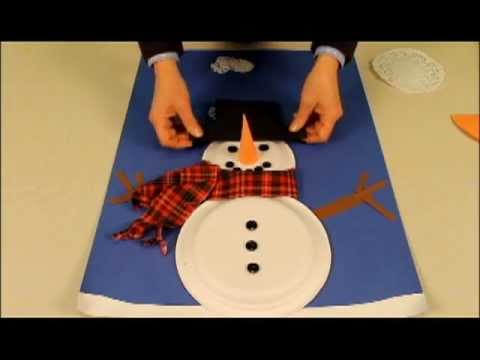 Snowman made with paper plates youtube for How to make snowman with paper