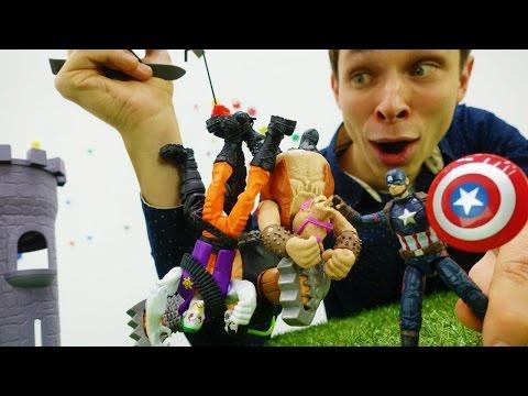 СУПЕРГЕРОИ: Капитан Америка и логово злодеев. Видео про игрушки для детей