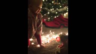 Baby dancing with christmas dog