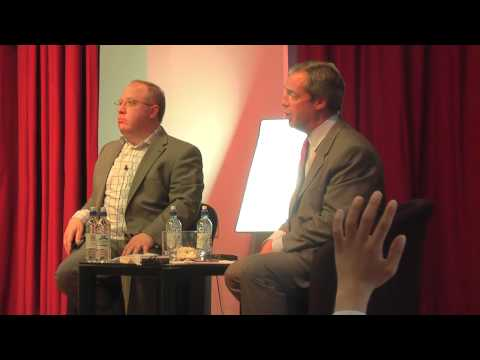 UKIP Leader Nigel Farage answers questions from Stephen Pollard and the public at Jewish Chronicle event at Hasmonean School Hendon 10 July 2013 http://www.t...