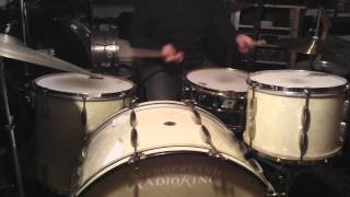 """Slingerland 1940's WMP  Radio King set. 26"""", 13"""", 16"""" and 70's Ludwig Black Beauty SS snare"""