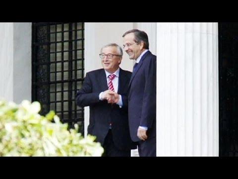 Jean-Claude Juncker rencontre Antonis Samaras en Grèce