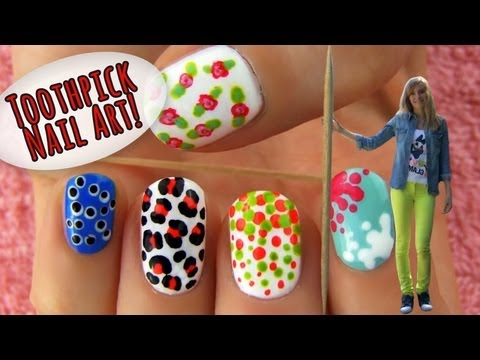 Toothpick Nail Art! 5 Nail Art Designs & Ideas Using Only a Toothpick! Music Videos