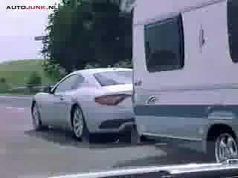 Maserati gran turismo pulling caravan