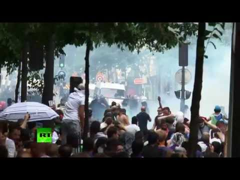 Stones and Teargas: Police clash with pro-Palestinian protesters in Paris
