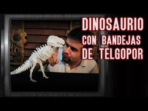 Como hacer un dinosaurio con bandejas de telgopor (Juego de Fósiles)