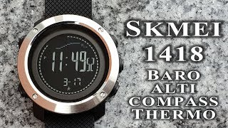 Skmei 1418 1427 watch full review. Barometer Altimeter Compass Thermometer Pedometer watch #183