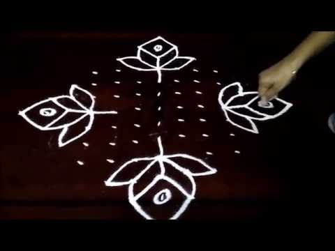 Flowers and parrots  kolam with 13 - 1 straight | chukkala muggulu with dots| rangoli design