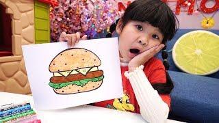Bé Bún Tô Màu Hamburger   Coloring Hamburger for Kids
