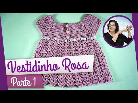 CROCHÊ - VESTIDO ROSA PARTE 1