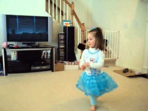 2 Year Old Wearing an Elsa Tutu Dress Dances to Disney Let it Go from Frozen, sung by Idina Menzel