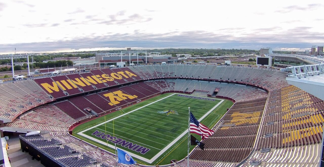 [TCF Bank Stadium Drone Flyover. Go Gophers!] Video