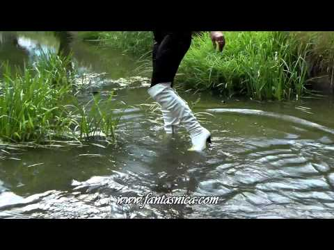 White Leather Overknee Boots in the River