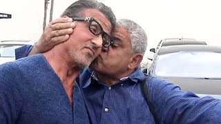 Sylvester Stallone Gets A Surprise Kiss At Cafe Roma