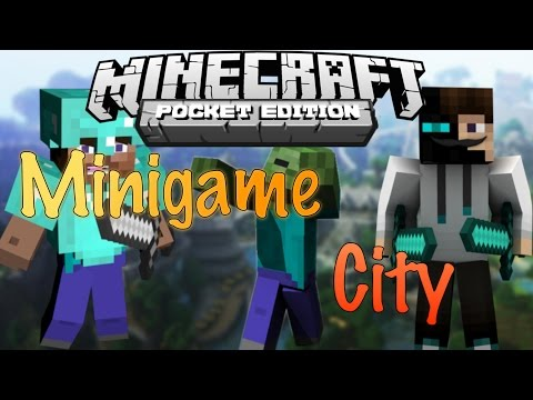 Minecraft Pocket Edition- Minigame City Multiplayer Map Review!