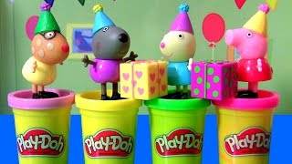 PLAY DOH Peppa Pig Birthday Party Friends with Rebecca Pedro Danny by FUNTOYS