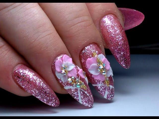 Нежный розовый дизайн ногтей с лепкой 4D. Нежный МАНИКЮР ТОП удивителные дизайны ногтей