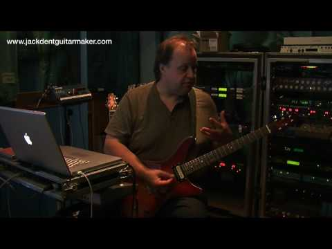 Steve Rothery demonstrates the prototype Jack Dent guitar