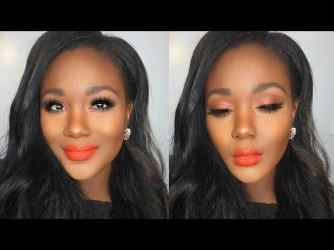 Spring 2016 Makeup Tutorial  Orange Eyes + Bold Orange Lips I Morphe 35O - Makeup for dark skin