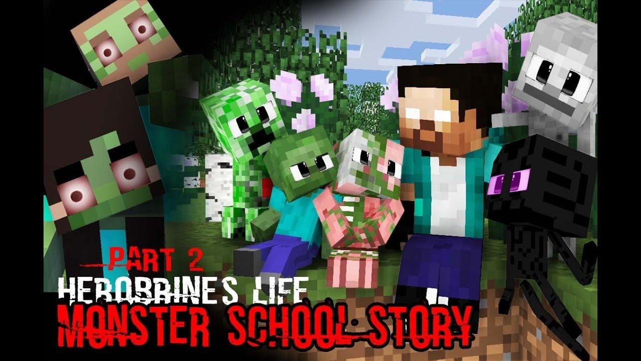MONSTER SCHOOL : Herobrine's Life Part 2 (The Story of Monster School) - Minecraft Animation