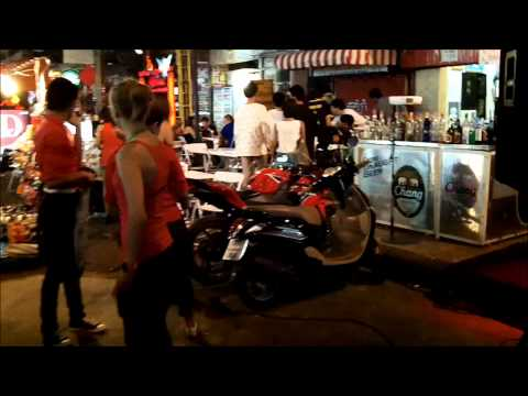 Walking down Khaosan Road in Bangkok, Thailand Food, Massage, Drinking, Venders, Culture.