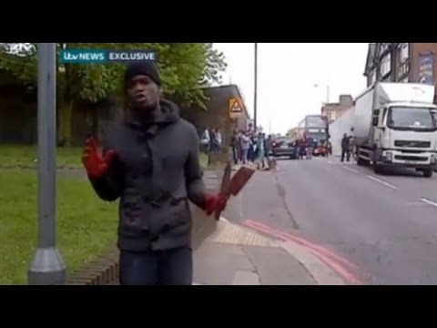 Woolwich Terrorist Attack Suspect with Bloody Hands Speaks at Murder Scene