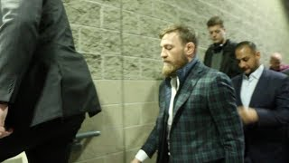 CONOR McGREGOR ARRIVES WITH ENTOURAGE AT TD GARDEN IN BOSTON FOR MATCHROOM USA SHOW