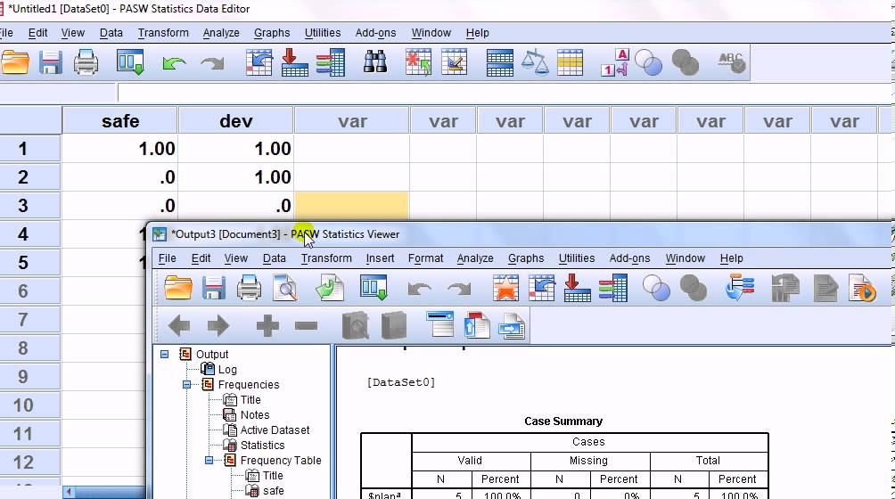 how to get mean and standard deviation in ssps