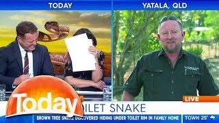 Snake catcher's toilet story has TV hosts in stitches