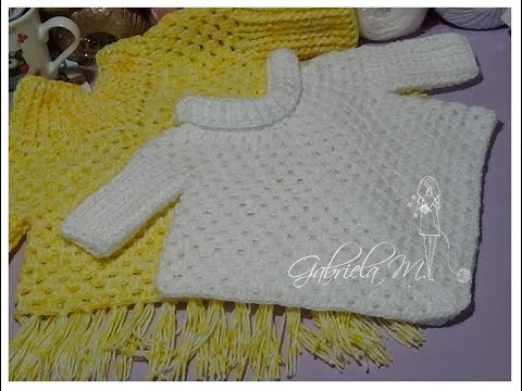 Poncho con mangas en crochet paso a paso todos los tamaños