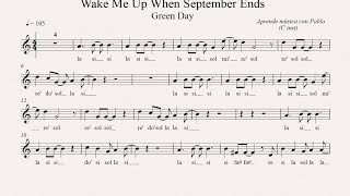 WAKE ME UP WHEN SEPTEMBER ENDS: (flauta, violín, oboe...) (partitura con playback)