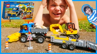 Lego Sweeper and Excavator Construction Truck Time Lapse Build