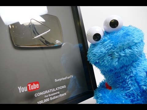 YouTube Silver Play Button Unboxing with Cookie Monster