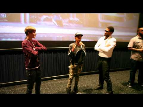 "Justin Bieber, Jaden Smith & Usher ""Never Say Never"" Theater Surprise"