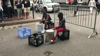 Kids in New Orleans, LA Drumming on Street