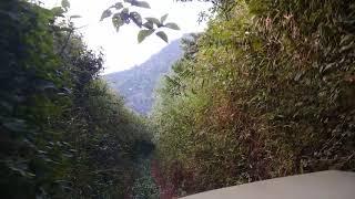 Mahindra JEEP driving through rough terrain downhill