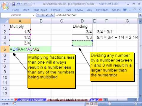 how to create a fraction in excel